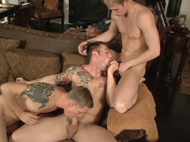 This clip from Drafted 3 by Active Duty features an oral sex daisy chain with three muscular str8 army boys sucking each other off.
