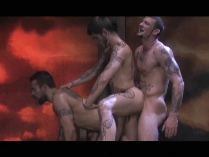 This clip from Hotter Than Hell 2 by Raging Stallion Studios features Steve Cruz, Ricky Sinz  and Logan McCree in a super-hot anal daisy chain, with Logan in the middle fucking and getting fucked.