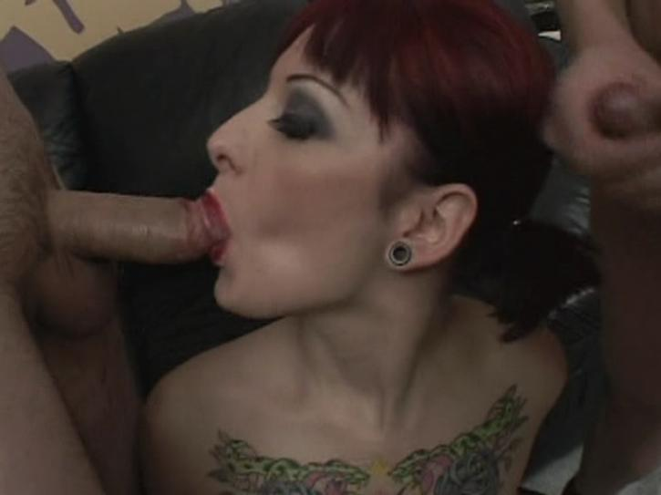 Cum On My Tattoo 4 / This clip from Cum On My Tattoo 4 by Burning Angel features a super-hot blow-bang with a sexy tattooed slut who rubs all her red lipstick off on these big hard cocks.