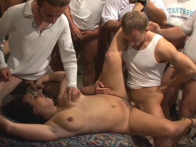This clip from 100 Man Semen Slam by White Ghetto features one lucky woman getting fucked by one horny man after the other, taking all those dicks just as fast as she can take them, and she never gets enough.