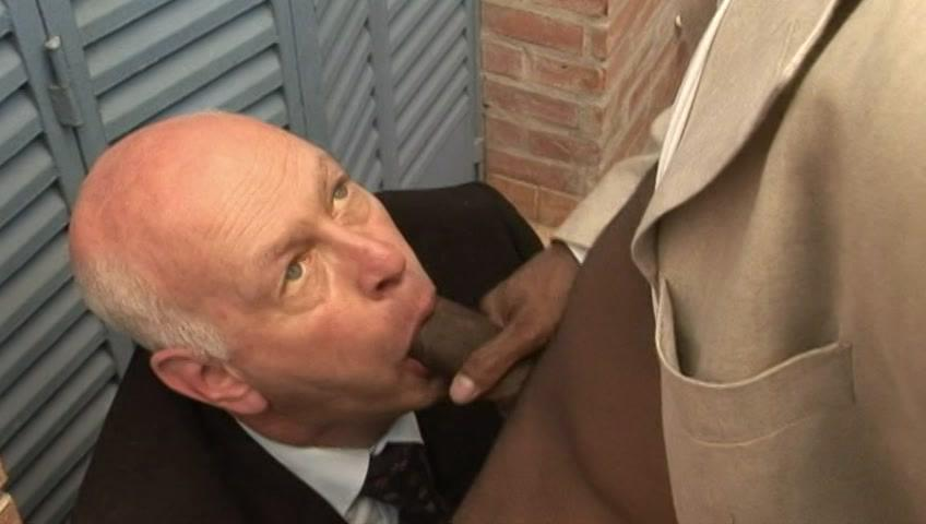 This clip from Blacks On Daddies 7 by Older4Me features a horny grandpa on his knees, sucking and swallowing a black dick whole, rubbing it all over his face, taking all that black cock he can get.
