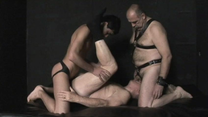 This clip from Nasty Daddies 6 by Older4Me features a horny grandpa getting his mouth and his ass fucked at the same time by two horny, leather-clad men. He�s taking all the hot cock he can get, all at once.