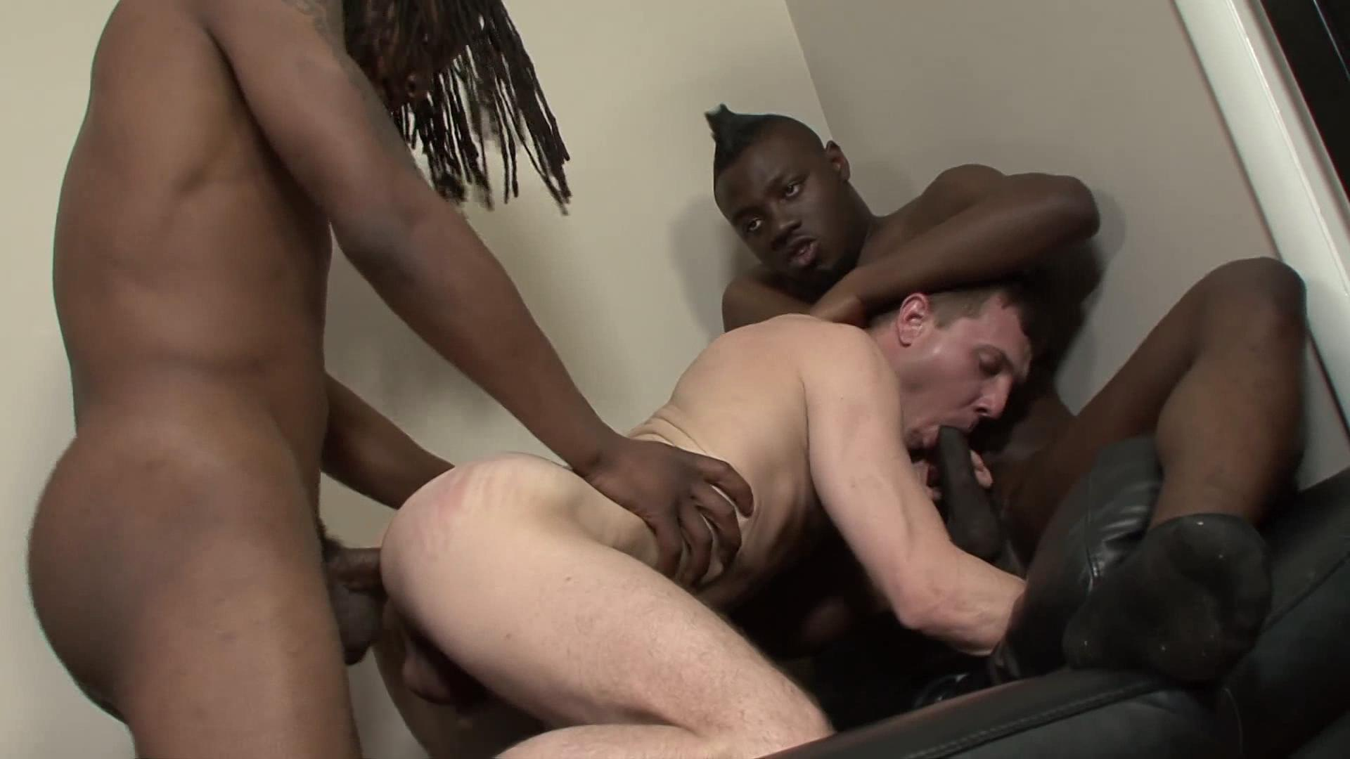 Black thug gay interracial orgy