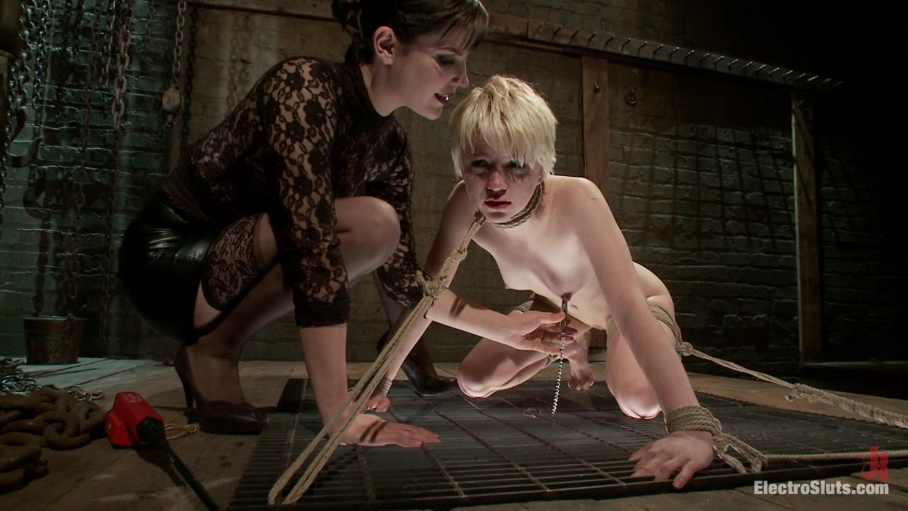 ElectroSluts: Bobbi Starr And Alani Pi 2 /  With skin as white as porcelain, blonde hair and blue eyes, Alani is the kind of girl I want in my restraints