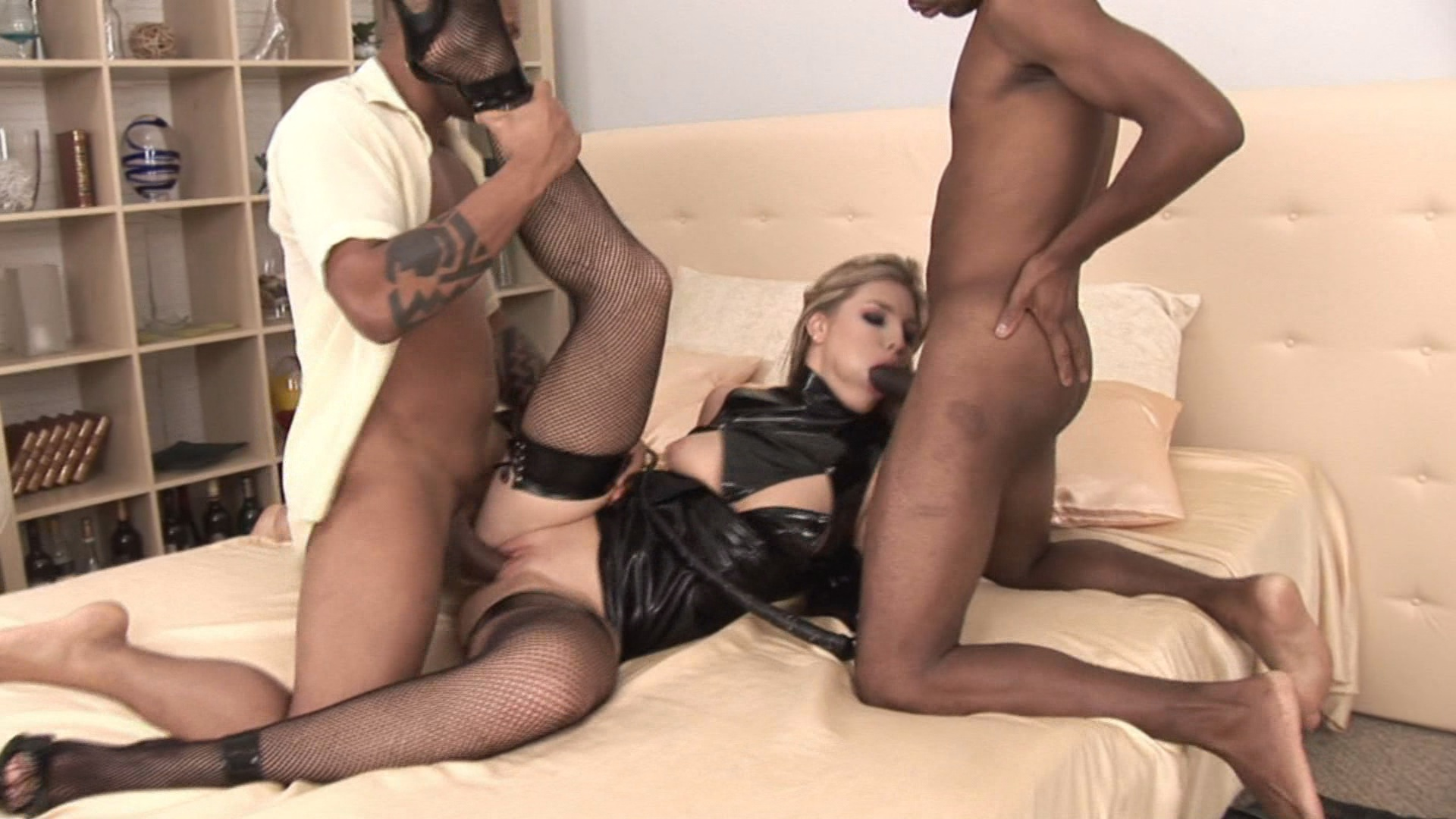 Blondes Look Good On Blacks / Meet eight seductive blondes who love nothing more than the feeling of a massive black cock deep inside them. Katy Caro takes on two at once for some double penetration. Cherry Jul and Hrisanta double up on a guy for a FFM threesome.