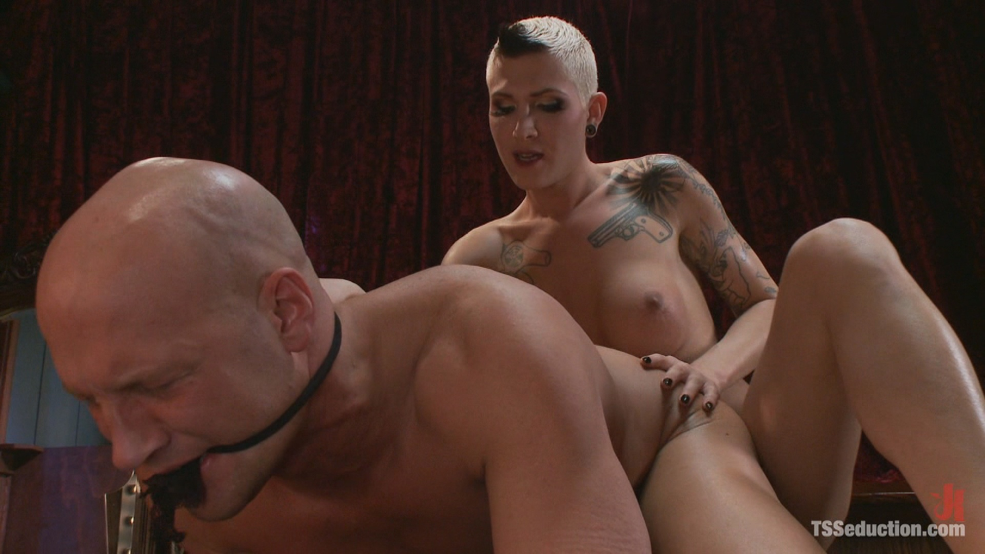 TS Seduction:  Cabaret:  TS Danni Daniels Owns Christian / Danni Daniels keeps her toys locked in her dressing room. Tonight she wants to play with the tall, muscular bouncer who has been eying her ever since she started working at The Cabaret.