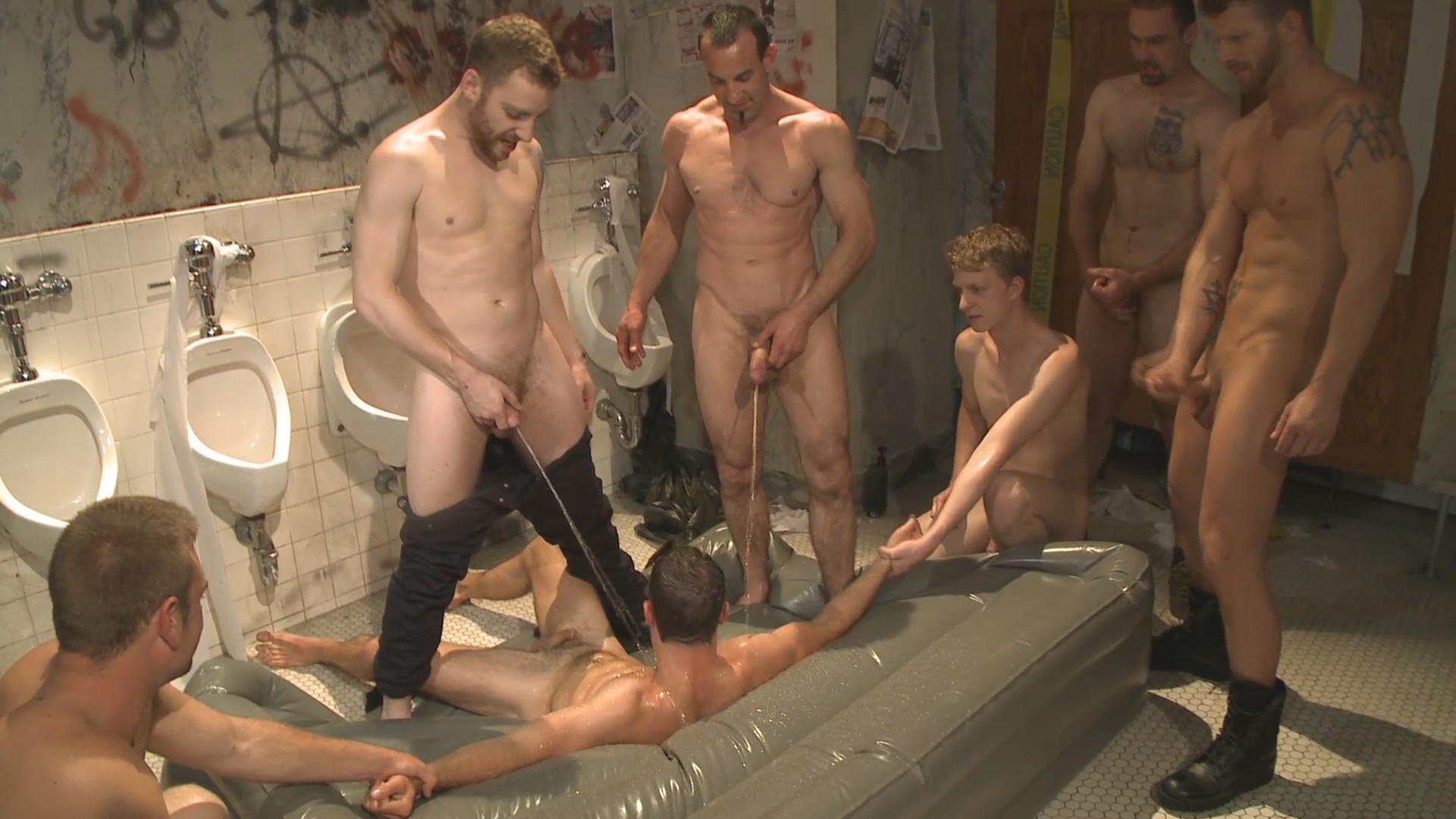 image Gay bondage group movie butt stretching for