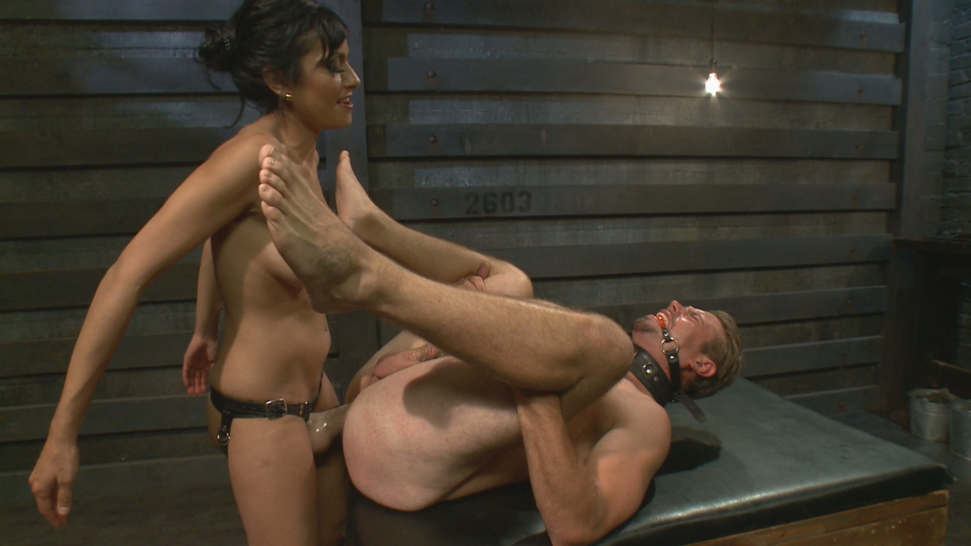 Beretta James tests femdom slave's devotion with her monstrous strapon