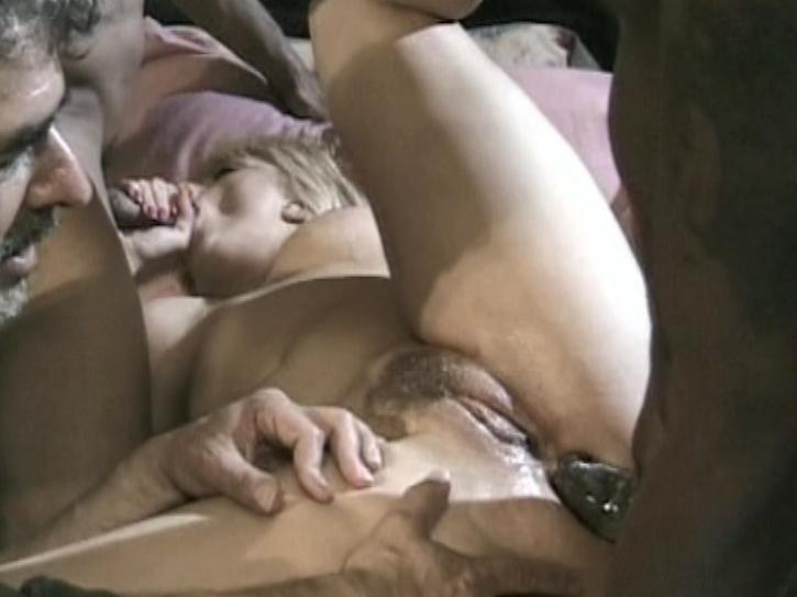 Fuck My Wife Please 3 / This clip from Fuck My Wife Please 3 by Underground Entertainment and Leisure Time features a blonde M.I.L.F. getting her pussy, her mouth and her ass filled by two black men while her husband watches.