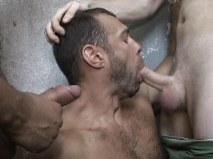 This bareback clip from Sperm Bank by Treasure Island studios features a scruffy man on his knees sucking of two muscle hunks as they make out with each other and stroke each others balls.